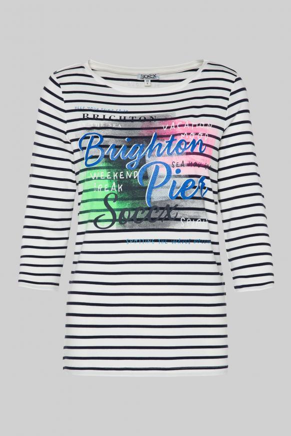 Streifenshirt mit Glitter Print und 3/4-Ärmeln ivory