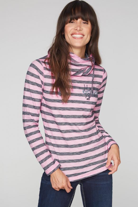 Streifenshirt mit hohem Kragen und Back Print ocean rose