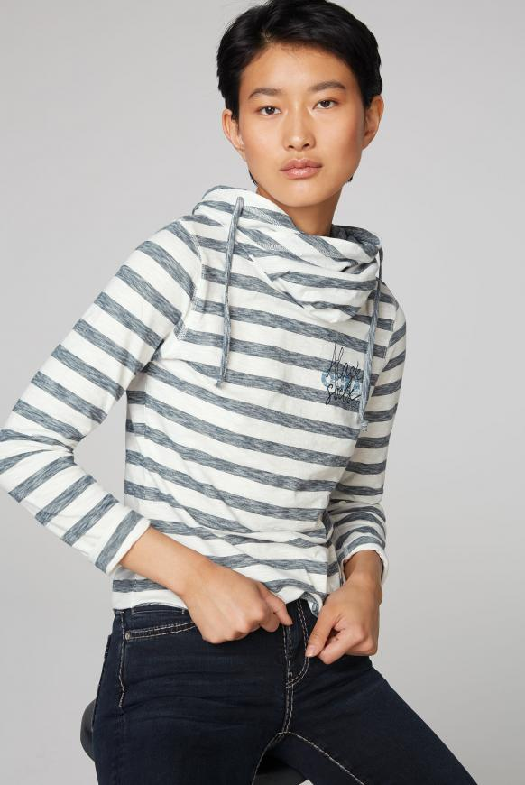Streifenshirt mit hohem Kragen und Back Print ivory / blue navy