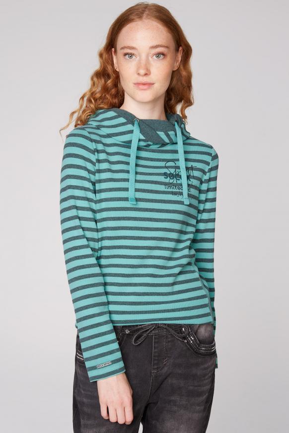 Streifenshirt mit hohem Kragen und Back Print icy aqua