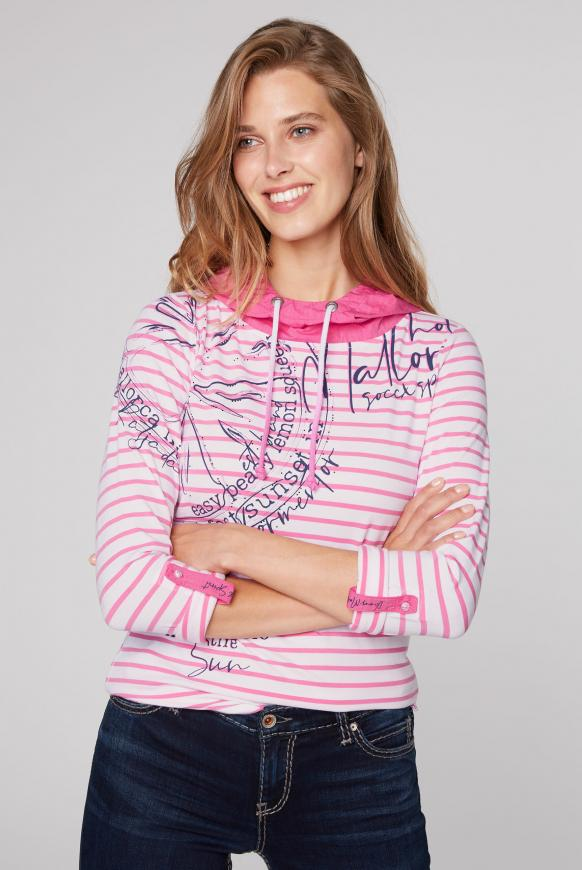 Streifenshirt mit Kontrastkapuze pink lemonade