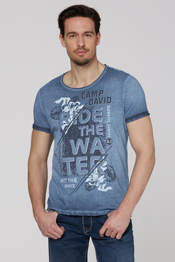Streifenshirt mit Used-Kanten und Frontprint thunder blue