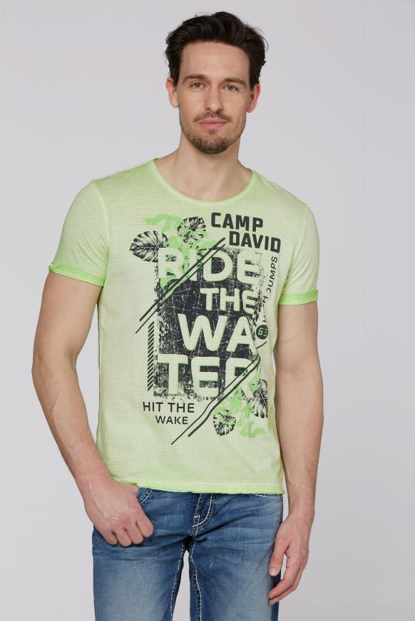 Streifenshirt mit Used-Kanten und Frontprint kiwi green