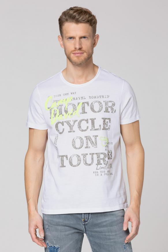 Streifenshirt mit Vintage- und Puff-Print opticwhite