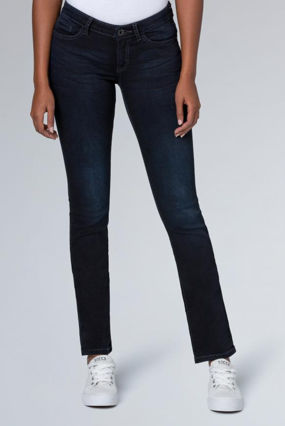 Stretch-Jeans RO:MY mit Used-Waschung blue black used