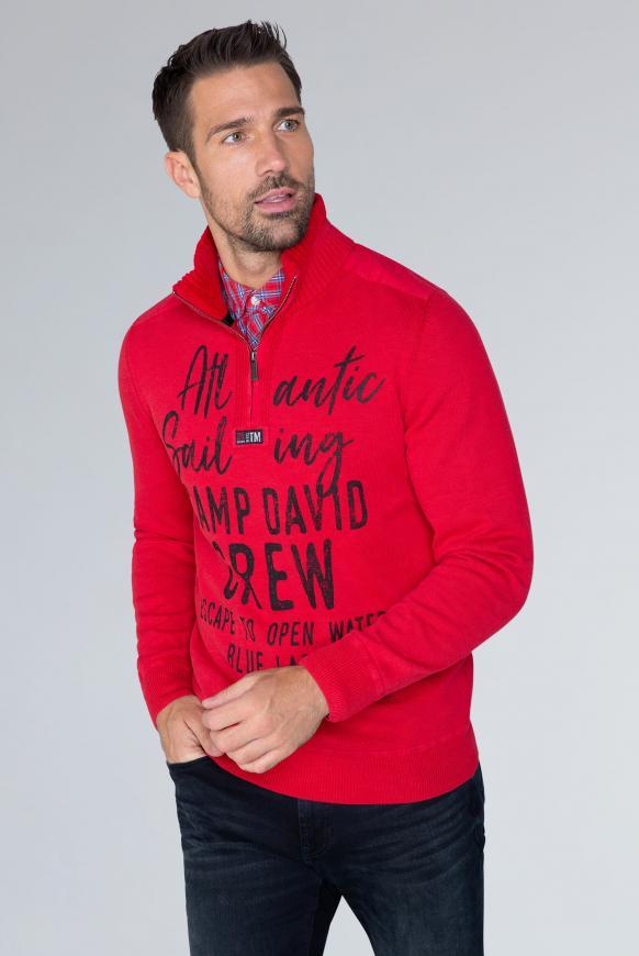 Strick-Troyer im Used Look mit Label Prints royal red