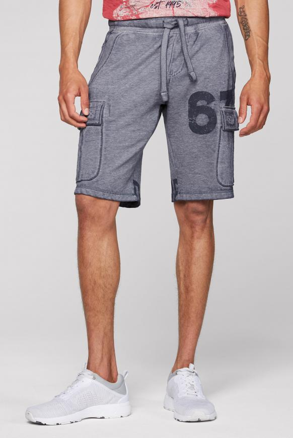 Sweat Cargo Shorts mit Ausbrennern dusty blue
