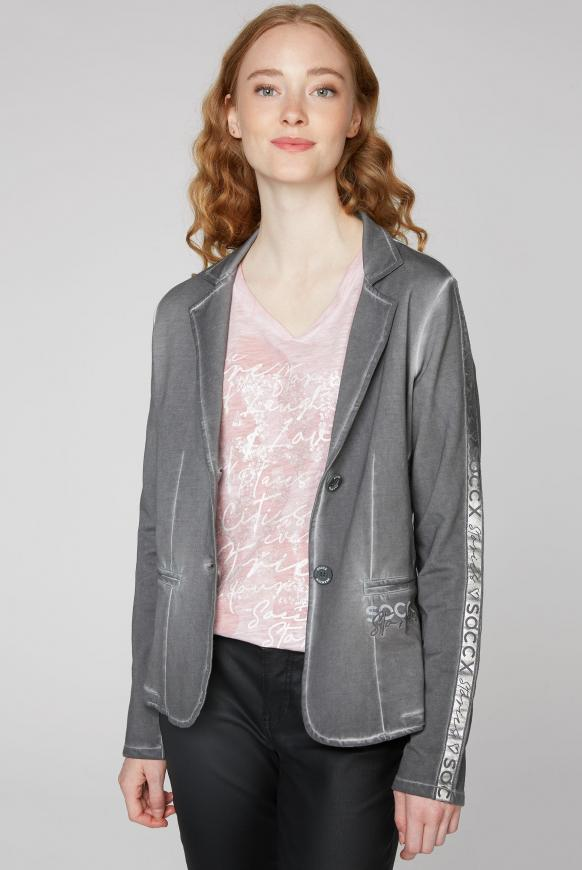 Sweatblazer mit Back Artwork und Logo-Prints dark ash