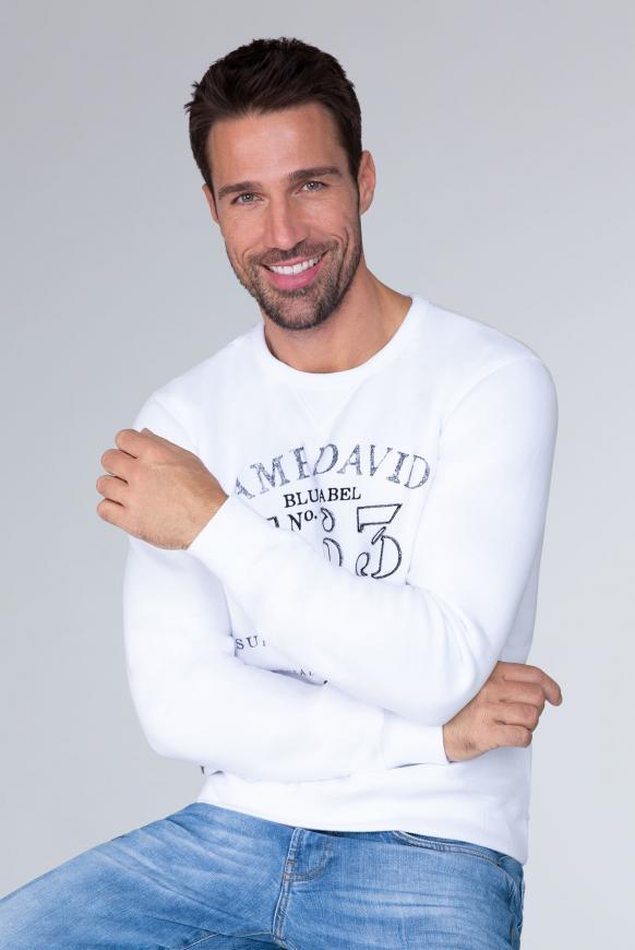 Sweater mit Logo Print und Stickereien opticwhite
