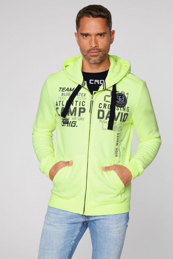 Sweatjacke mit Kapuze und Logo-Artwork neon lime