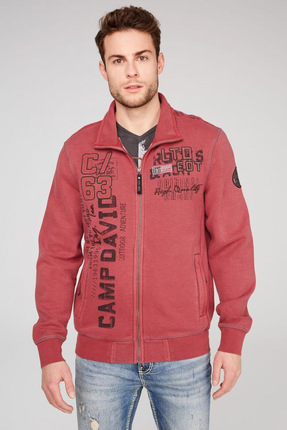 Sweatjacke mit Label-Applikationen powder red