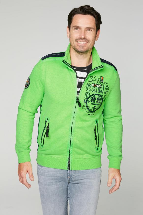 Sweatjacke mit Tapes und Rücken-Artwork neon green