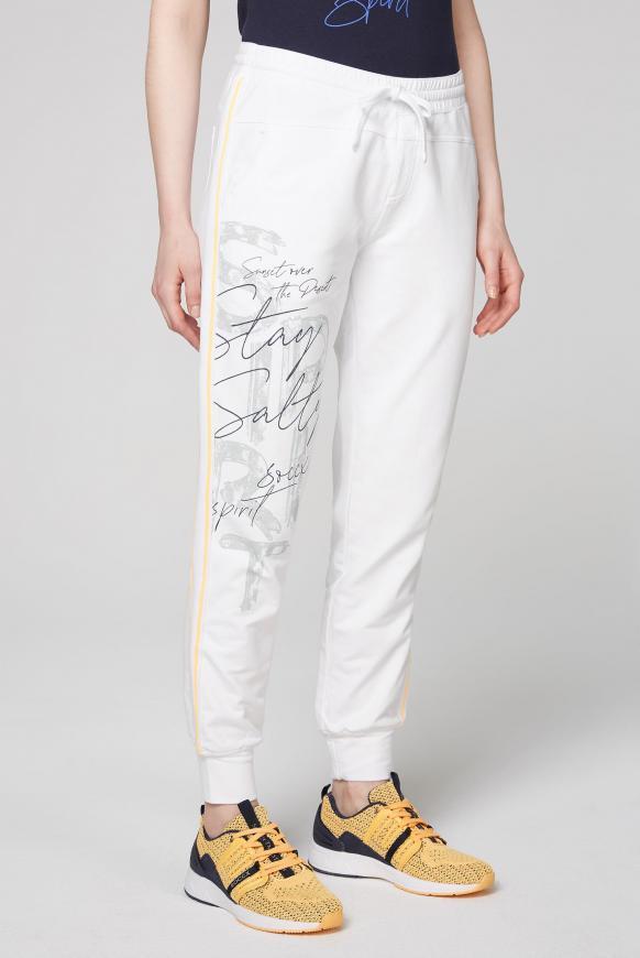 Sweatpants mit Seitentapes und Print opticwhite