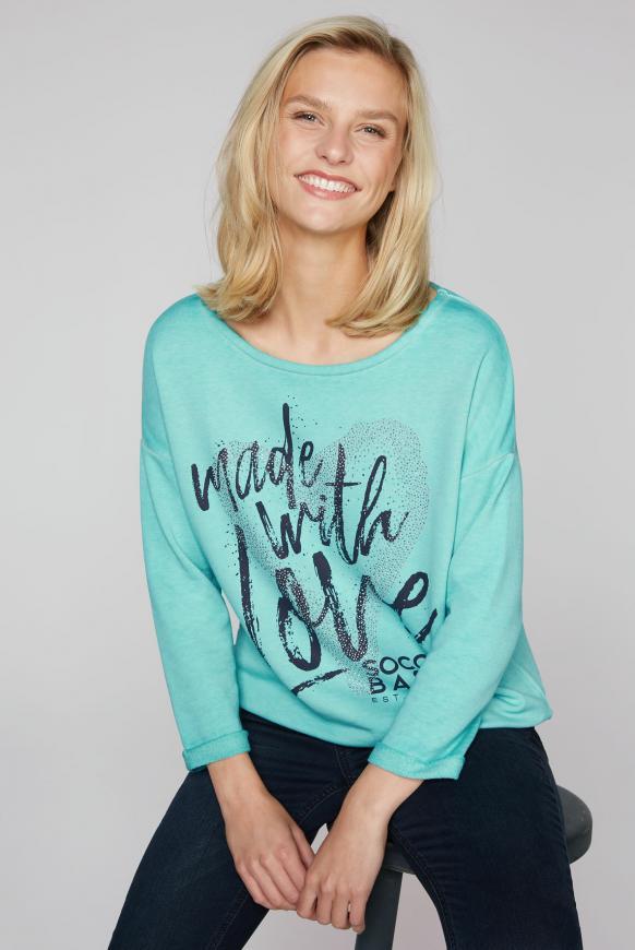 Sweatshirt mit Artwork und 3/4-Arm icy aqua