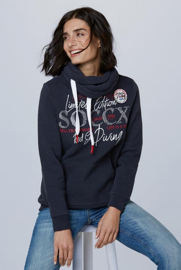 Sweatshirt mit hohem Kragen und Artwork deep sea