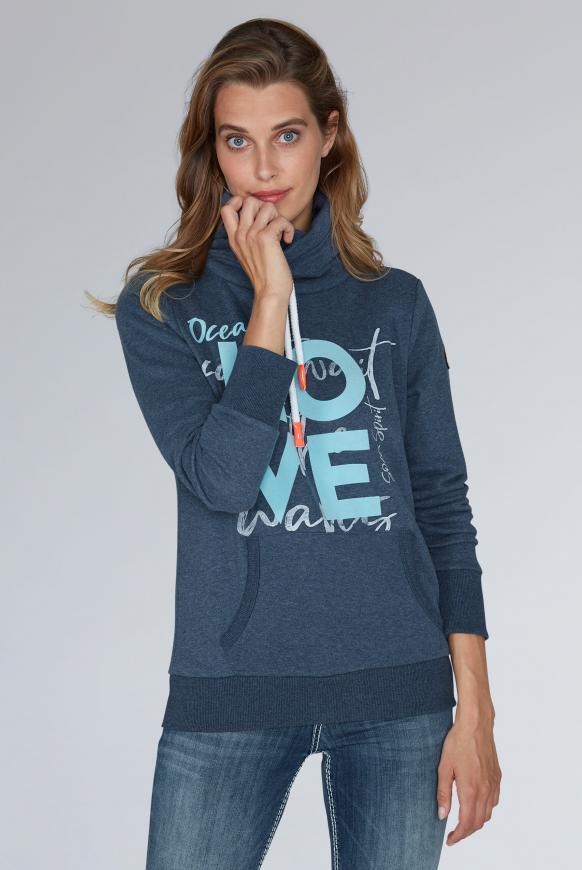 Sweatshirt mit hohem Kragen und Artworks navy melange