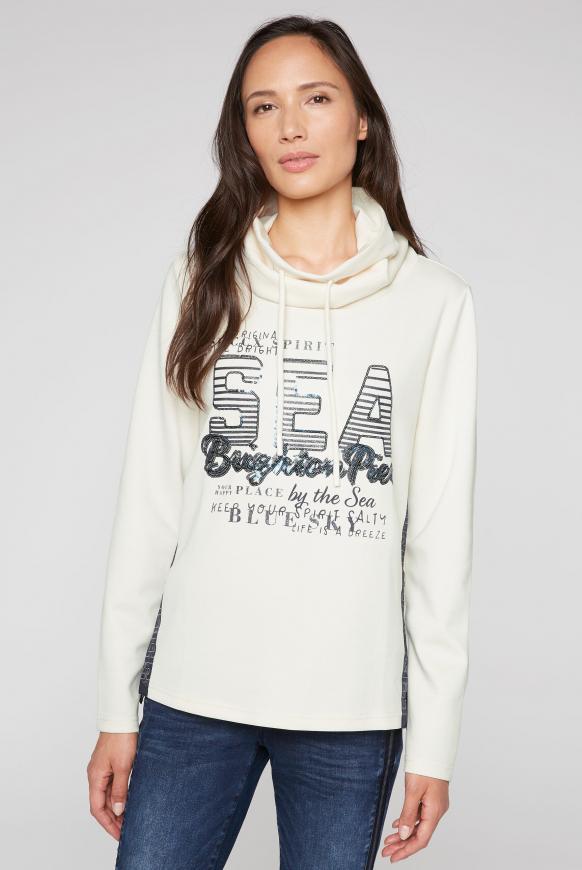Sweatshirt mit hohem Kragen und Pailletten-Artwork ivory