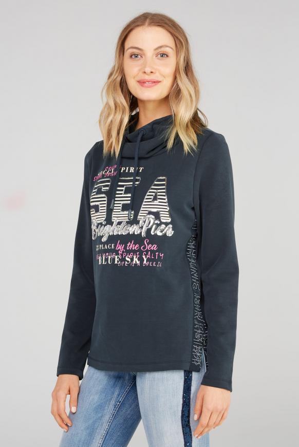 Sweatshirt mit hohem Kragen und Pailletten-Artwork nautic navy