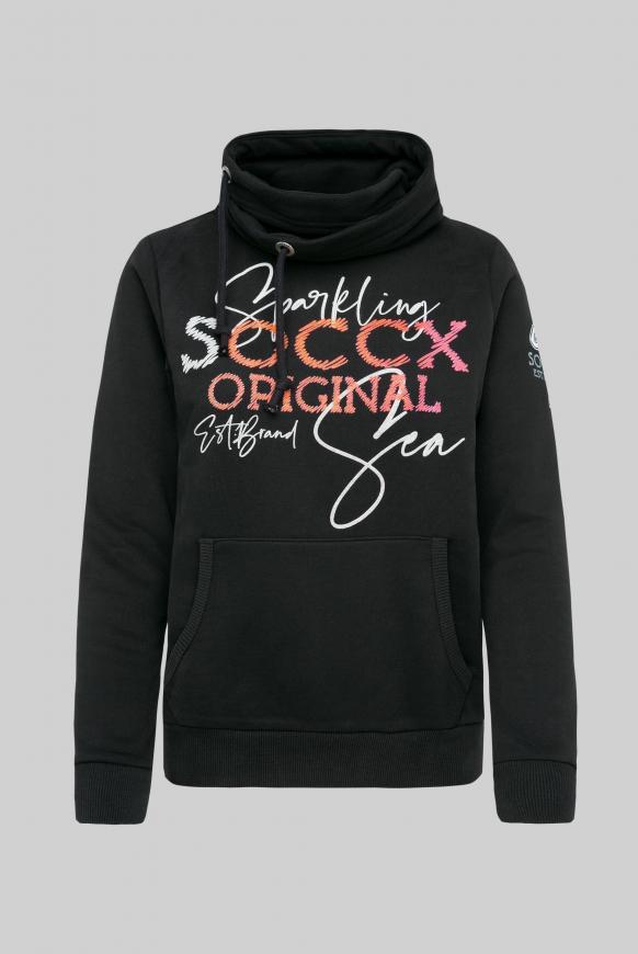 Sweatshirt mit hohem Kragen und Puff Print black