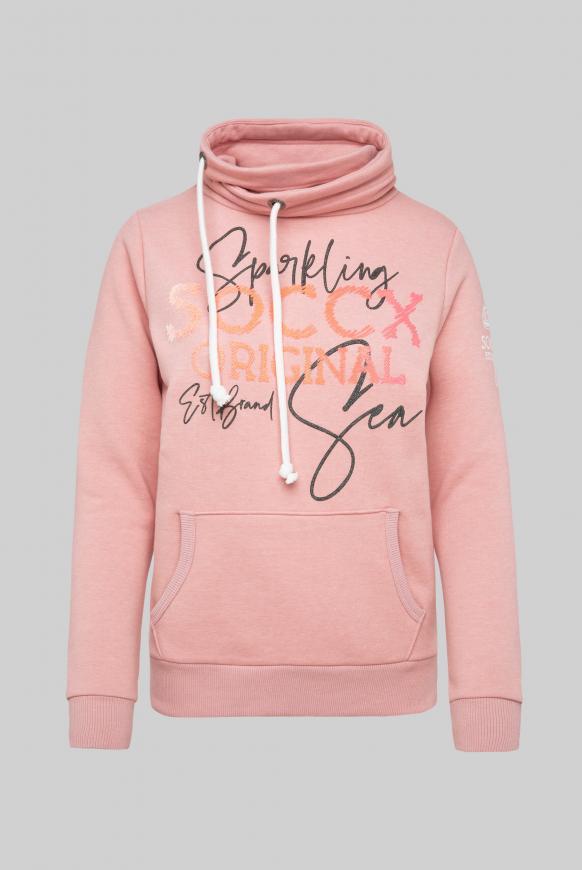 Sweatshirt mit hohem Kragen und Puff Print rose melange