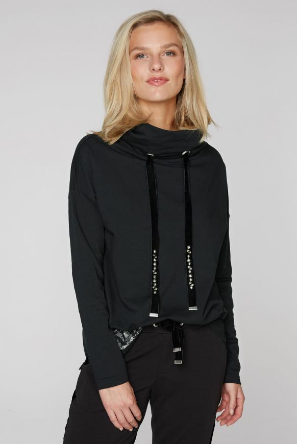 Sweatshirt mit hohem Kragen und Rücken-Artwork black