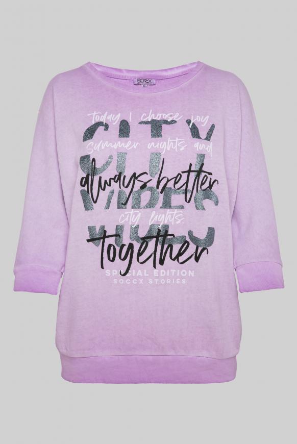 Sweatshirt mit kurzen Ärmeln und Label Print lavender sky
