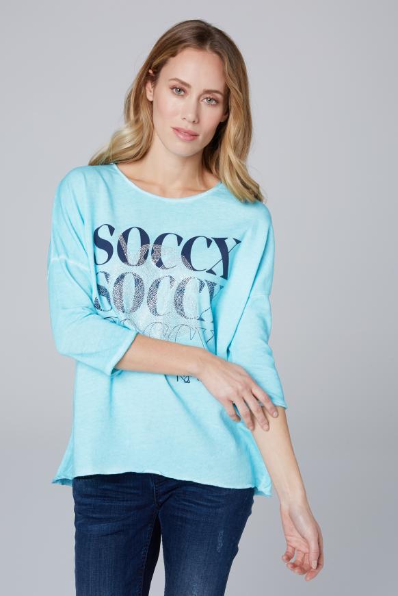 Sweatshirt mit Logo und 3/4-Ärmeln cool aqua