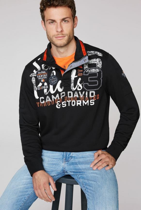 Sweatshirt mit Troyer-Kragen und Artwork black
