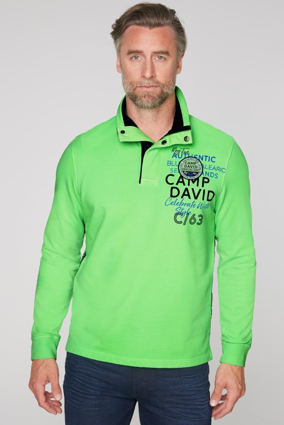 Sweatshirt mit Troyer-Kragen und Artworks neon green