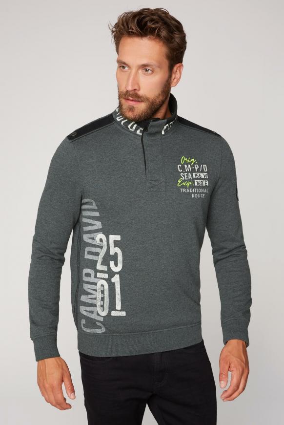 Sweatshirt mit Troyer-Kragen und Artworks anthra melange