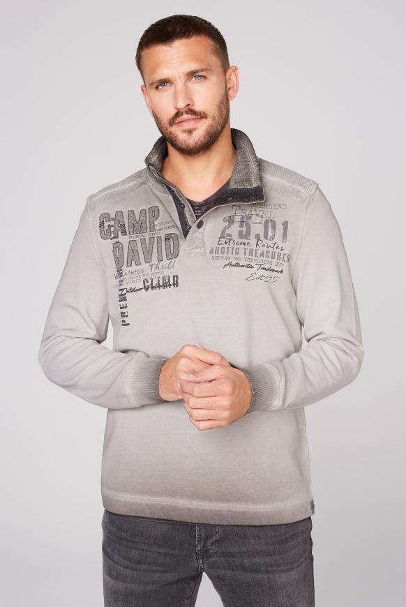 Sweatshirt mit Troyer-Kragen und Strick-Details stone brown