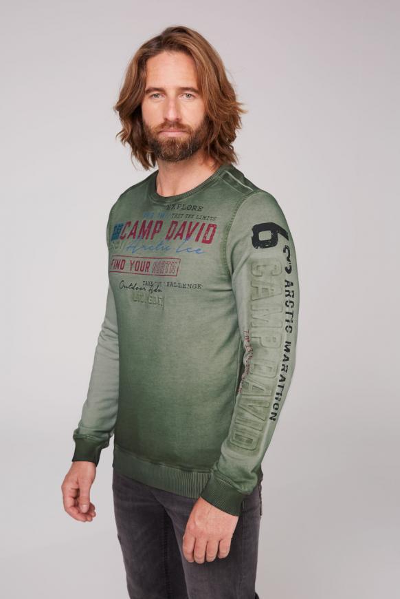 Sweatshirt Oil Dyed mit Logo-Prägung pure olive