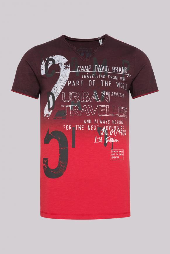 T-Shirt aus Flammgarn mit Dip-Dye-Effekt dark teal