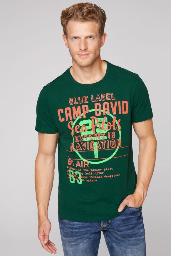 T-Shirt aus Flammgarn mit Label Print green sea