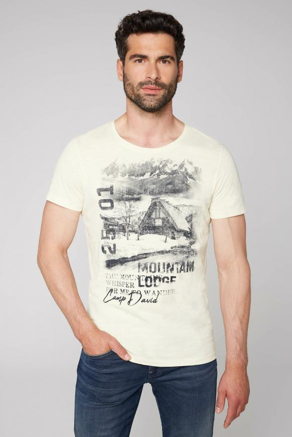 T-Shirt aus Flammgarn mit Photoprint sand white