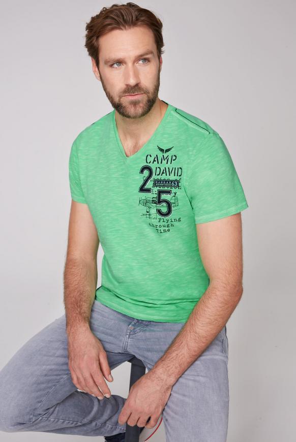 T-Shirt aus Flammgarn mit Rücken-Artwork electric green