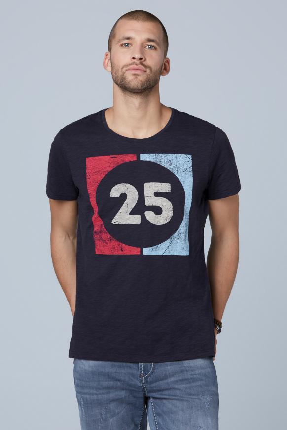 T-Shirt aus Flammgarn mit Used Print absolute blue
