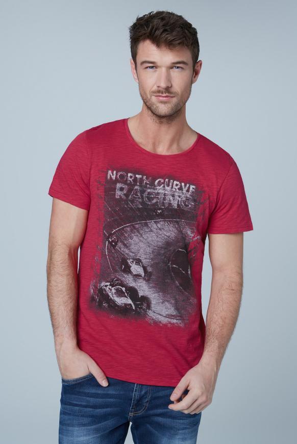 T-Shirt aus Flammgarn mit Used Print cardinal