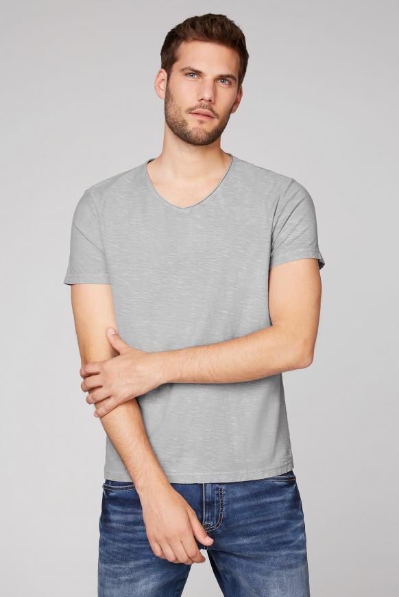 T-Shirt aus Flammgarn mit V-Ausschnitt polo grey