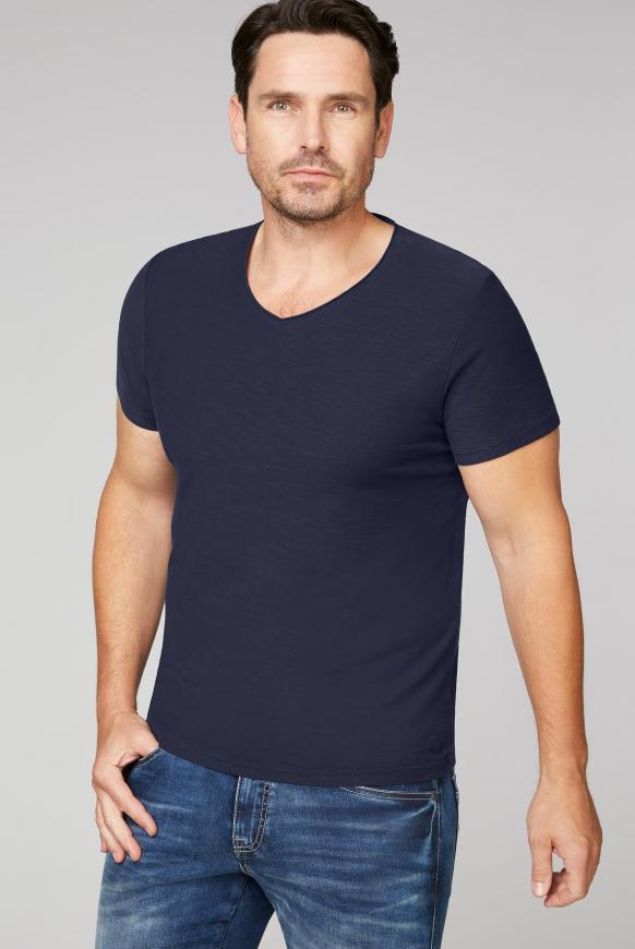 T-Shirt aus Flammgarn mit V-Ausschnitt absolute blue