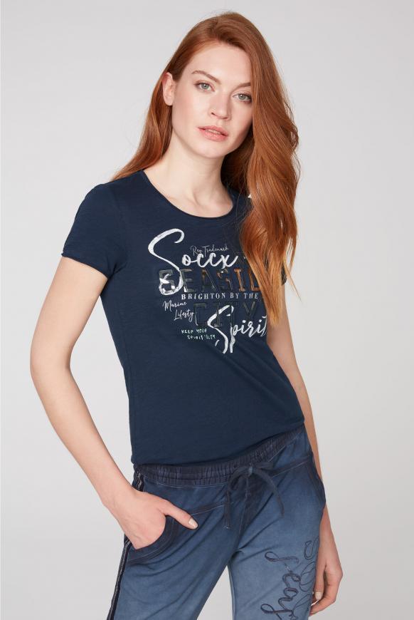 T-Shirt mit 3D-Artwork und Used-Kanten nautic navy