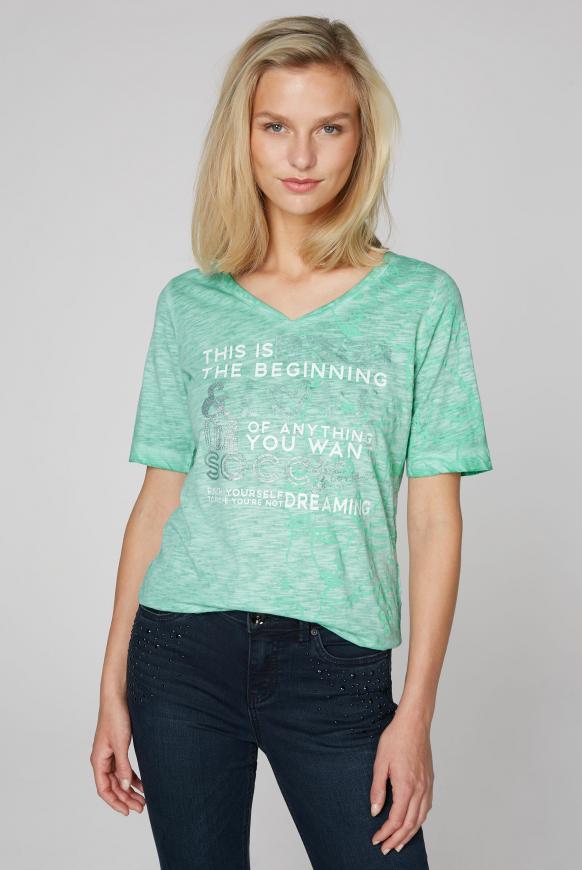 T-Shirt mit All Over Print und Artwork frosty mint