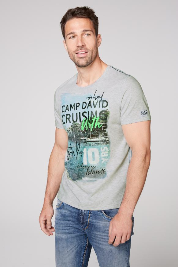 T-Shirt mit Artwork white melange