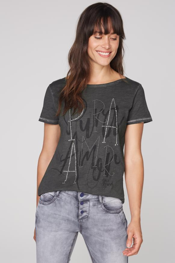 T-Shirt mit Artwork und Glitzernähten black