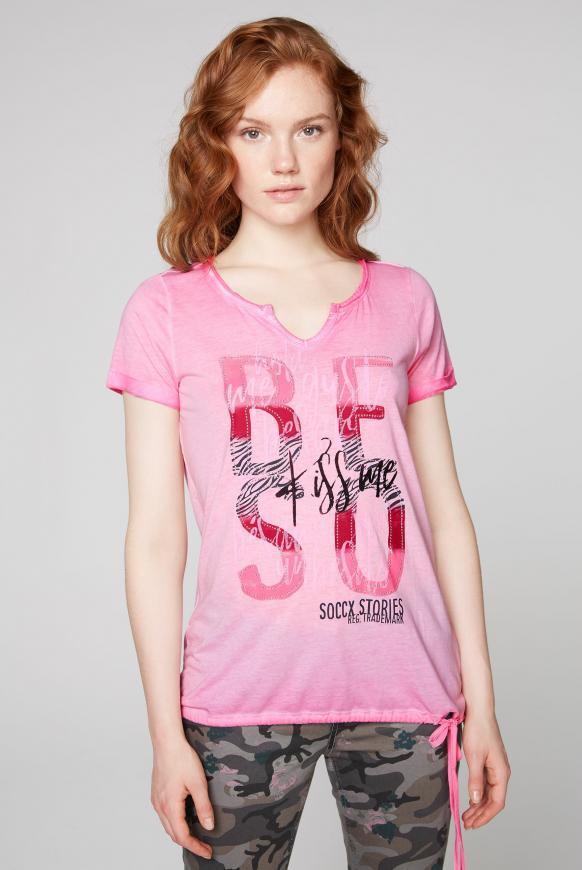 T-Shirt mit Artwork und Saum zum Binden sugar rose