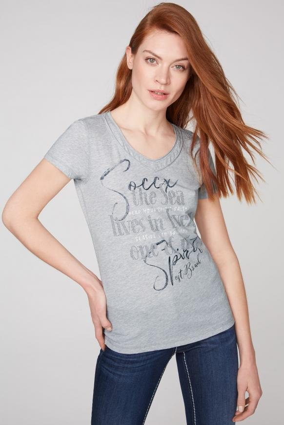 T-Shirt mit Artwork und Schnürung grey melange