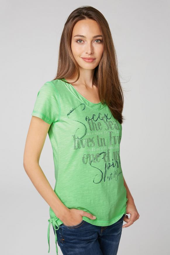 T-Shirt mit Artwork und Schnürung lime punch