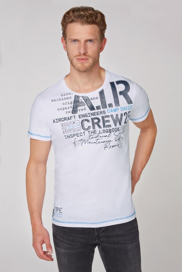 T-Shirt mit Artworks und Kontrastnähten opticwhite