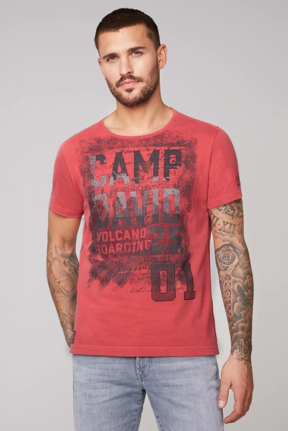 T-Shirt mit auffälligen Logo Prints powder red
