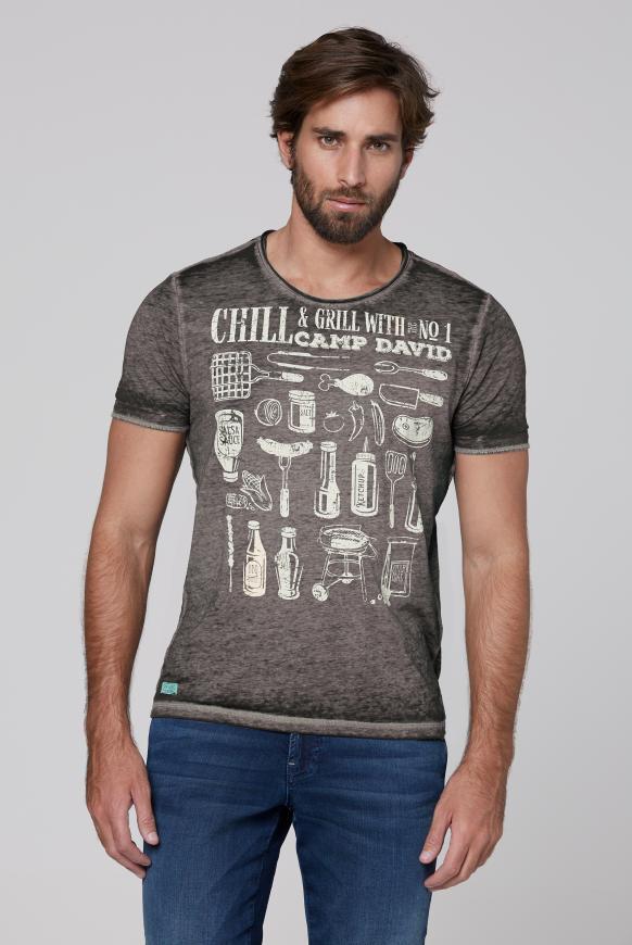 T-Shirt mit Ausbrennern und Used Print coal black
